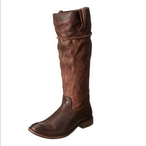 Frye brown Shirley pull on leather tall boots